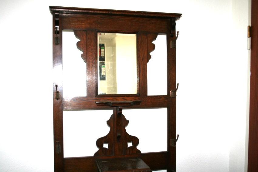 antike garderobe massiv eiche wandgarderobe schrank england um 1920 ebay. Black Bedroom Furniture Sets. Home Design Ideas