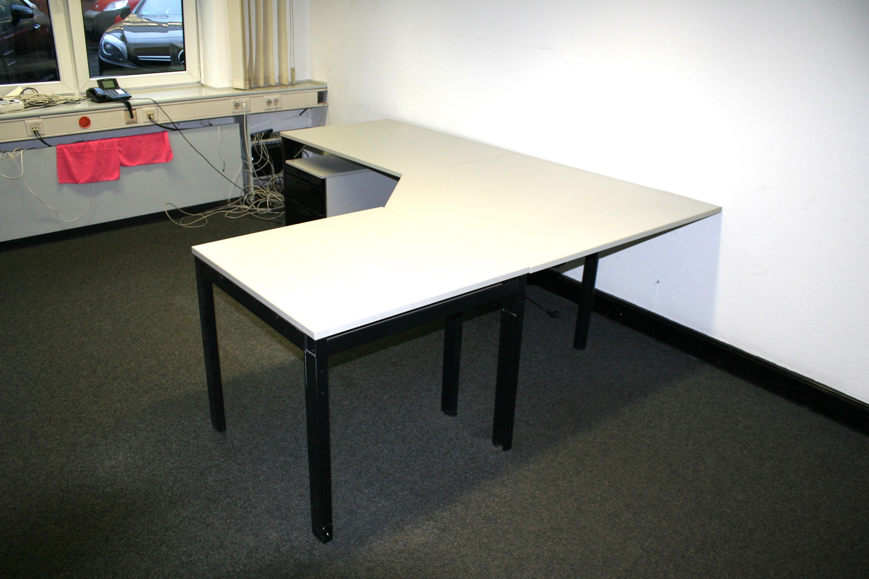 voko winkelschreibtisch 3 teilig lichtgrau incl. Black Bedroom Furniture Sets. Home Design Ideas